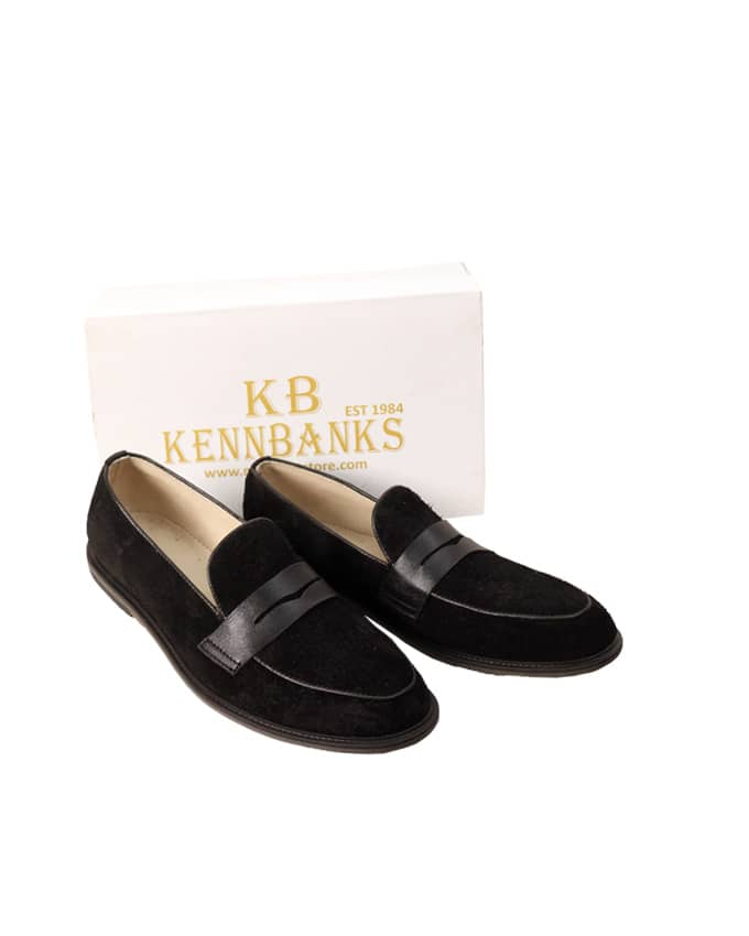 Kenn Banks Exquisite Suede Belgian Loafers - Black