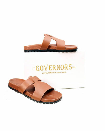 Governors Fashion Leather Slides - Brown