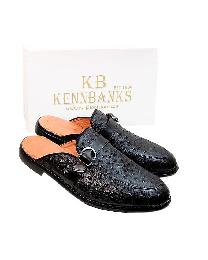 Kenn Banks Men Ostrich Skin Mule - Black