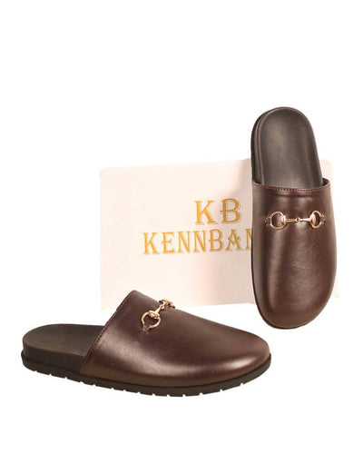 Mens Flat Leather Horsebit Mules - Brown