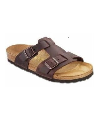 MENS BROWN LEATHER OPEN TOE SLIPPERS