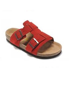 MEN'S RED SUEDE OPEN TOE SLIPPERS