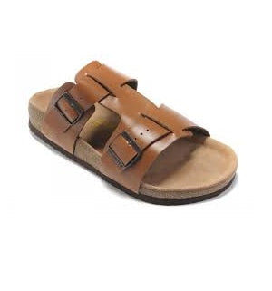 MENS CARTON BROWN OPEN TOE SLIPPERS
