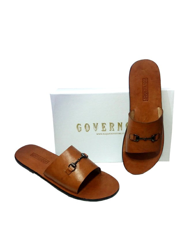 Simple Crane Cover Governors Leather Slippers - Brown