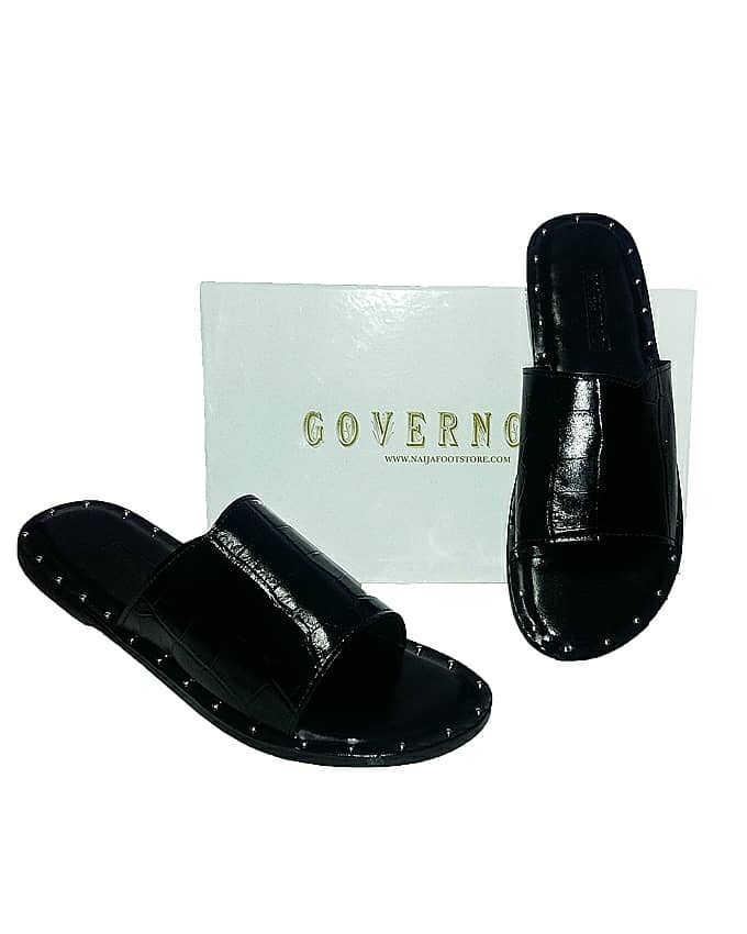 GOVERNORS STUDDED ALLIGATOR SKIN COVER SLIPPERS - BLACK