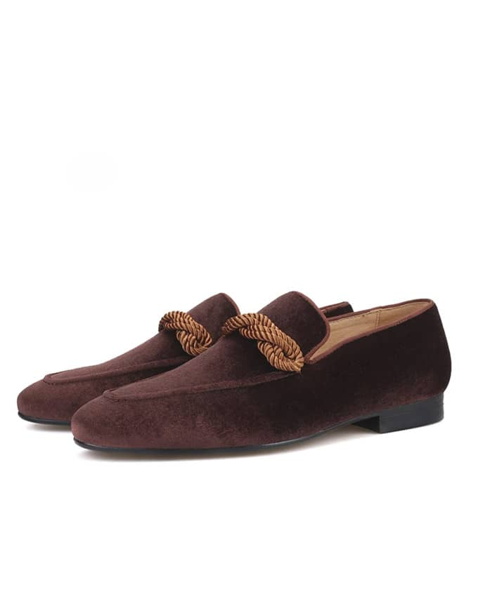 Men Suede Weaved Tassel Loafers - Brown
