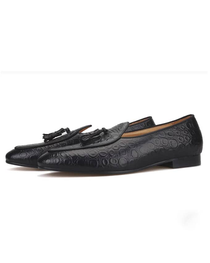 Men's Dotted Leather Belgian Tassel Loafers
