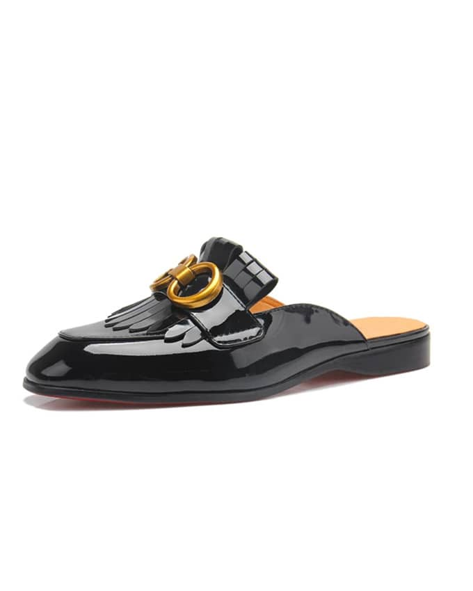 Senior Men Patent Finger Tassel Mule