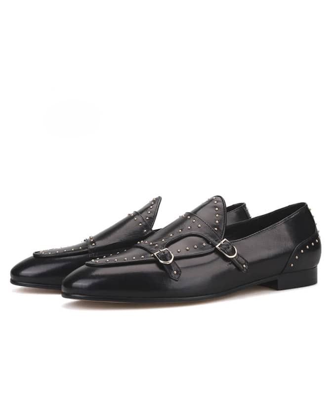 Senior Men Studded Double Monkstrap Loafers