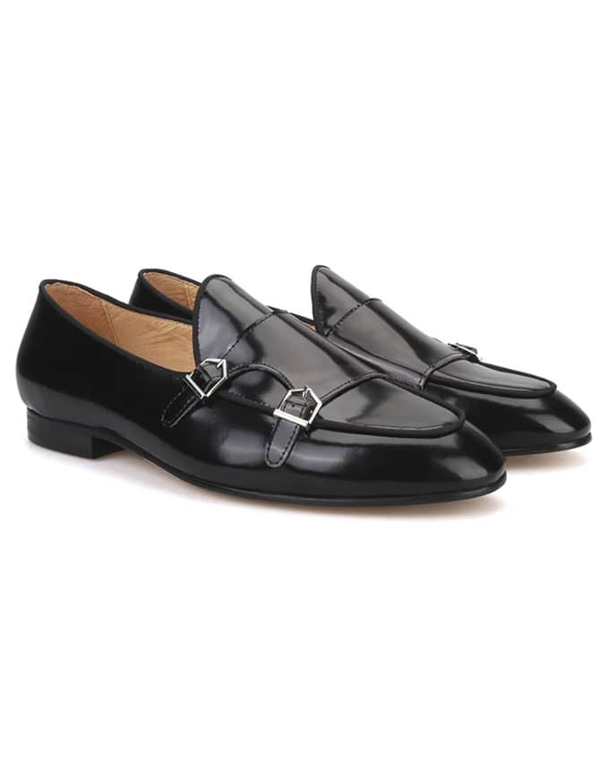 Men Pure Leather Double Monkstrap Loafers