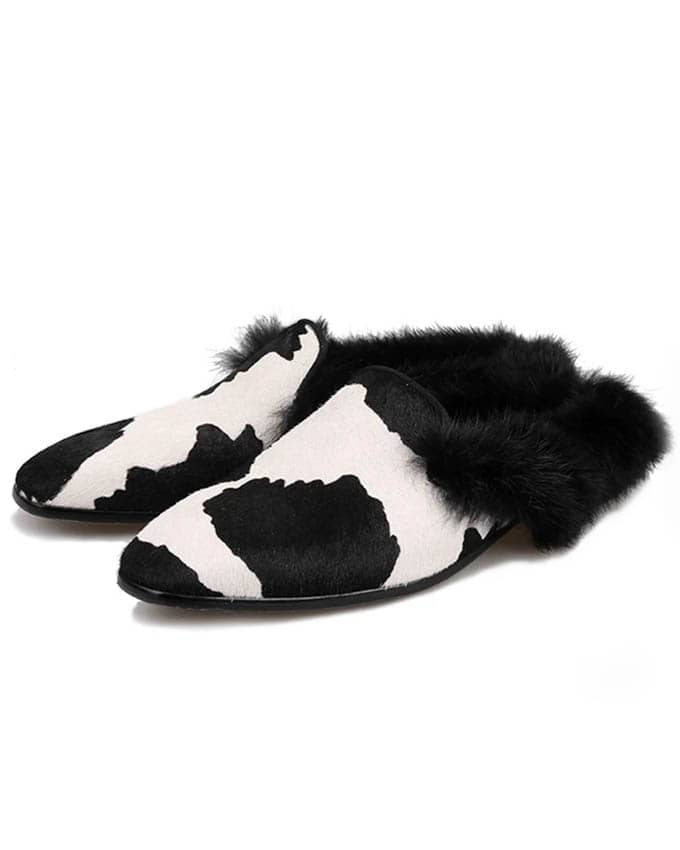 Men's Cow Leather WIth Fur HalfShoe
