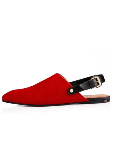 SENIOR MEN SUEDE HALF SHOE SANDAL - RED