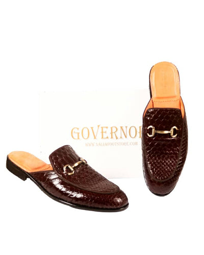 GOVERNORS SCALE SKIN LEATHER HALF SHOES - BROWN