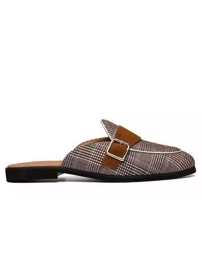Kenn Banks Men's Checkers Side Buckle Mules