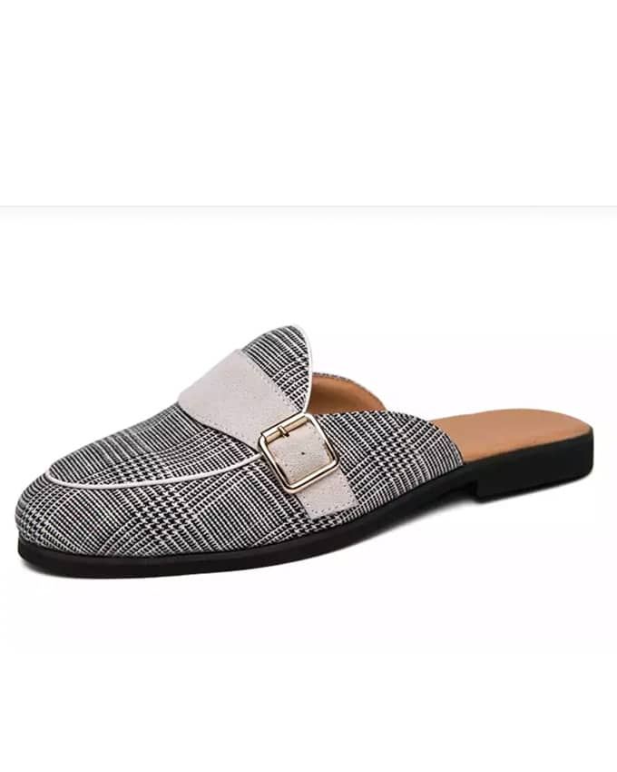 Men's Checkers White Side Buckle Details Mules