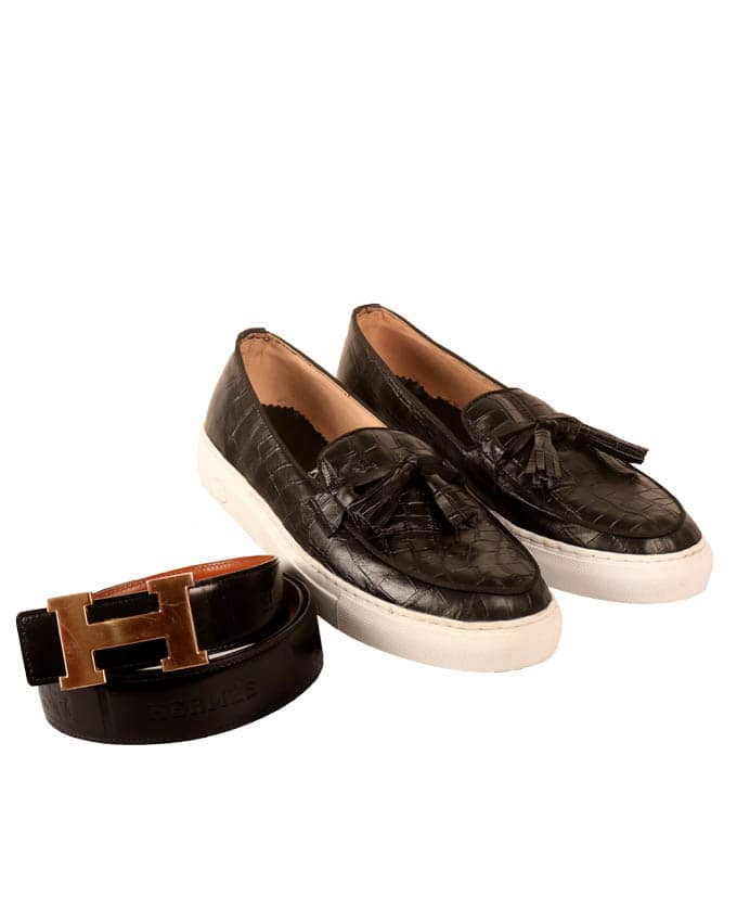 MEN'S CROC SKIN LEATHER SNEAKERS AND BELT