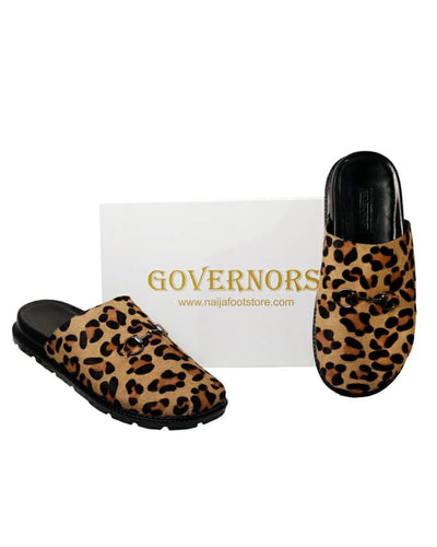 Leopard Skin Leather Half Shoe Mules Slides - Governors