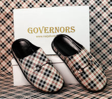 GOVERNORS OFF WHITE CHECK THEME HALF SHOE MULES