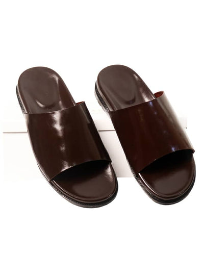 DARK BROWN LEATHER SLIDES - GOVERNORS
