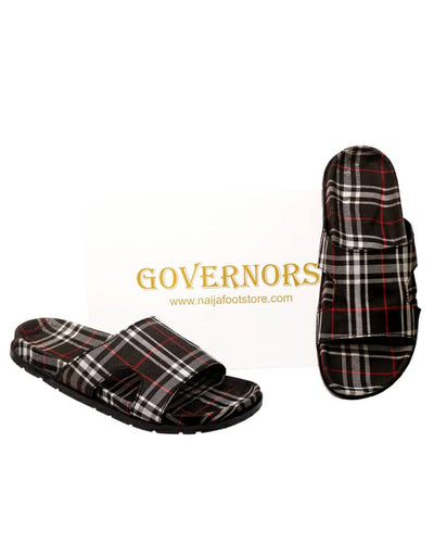 GOVERNORS CHECK SLIDES SLIPPERS
