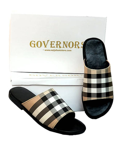 Governors Cream Check Slippers Design