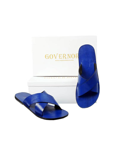 BLUE GOVERNORS LEATHER CROSS SLIPPERS