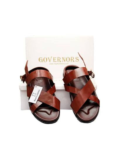 GOVERNORS CRISS CROSS SANDALS - BROWN