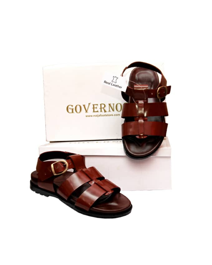 GOVERNORS GLADIATOR SLIDES SANDALS - BROWN