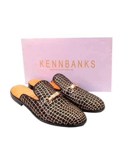 Senior Men Studded Leather Mules