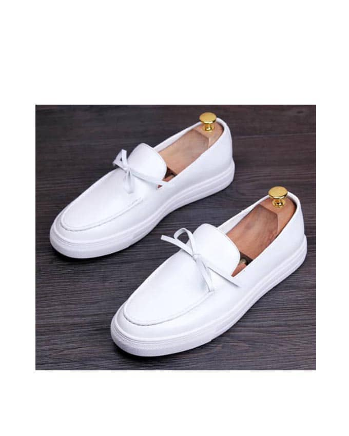 KENN BANKS MENS WHITE LEATHER SNEAKERS