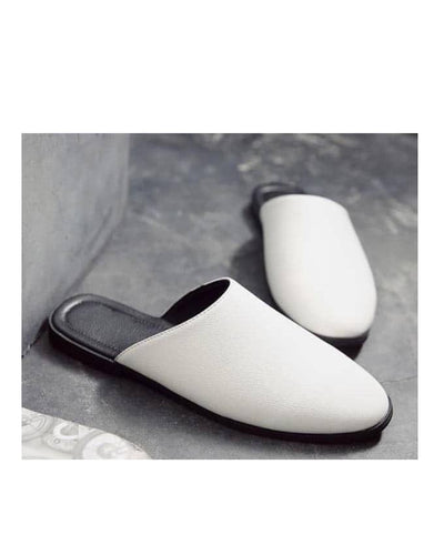 SENIOR MEN WHITE LEATHER HALFSHOE - KENN BANKS