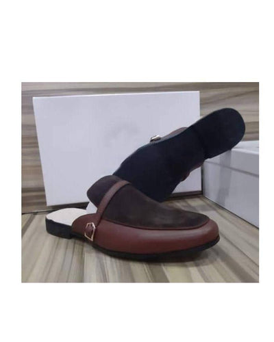 KENN BANKS LEATHER/SUEDE SIDE BUCKLE HALF SHOE - BROWN