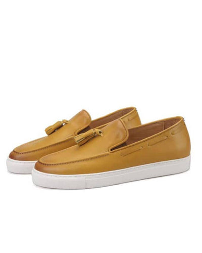 MENS CARTON BROWN LEATHER SNEAKERS