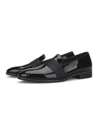 MENS PATENT STUDDED LOAFERS