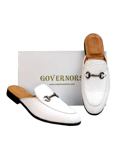 GOVERNORS SCALE SKIN LEATHER HALF SHOES - WHITE