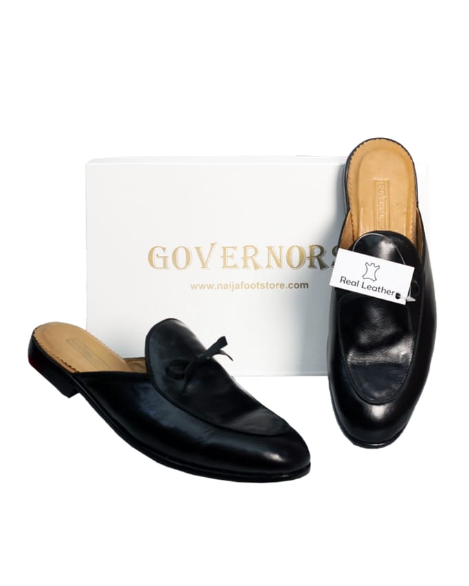 GOVERNORS LEATHER KNOT HALFSHOE - BLACK