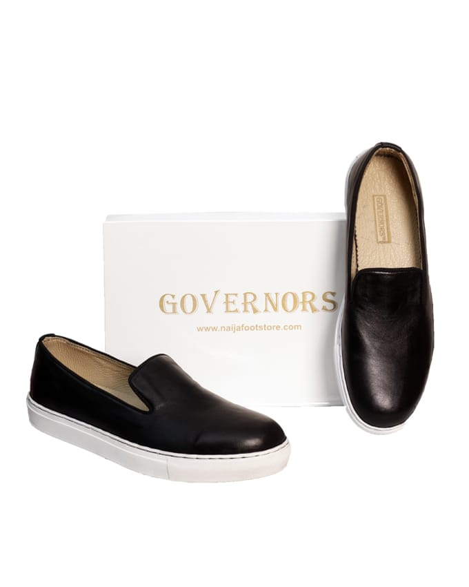 Governors Black Leather Plimsoles Sneakers