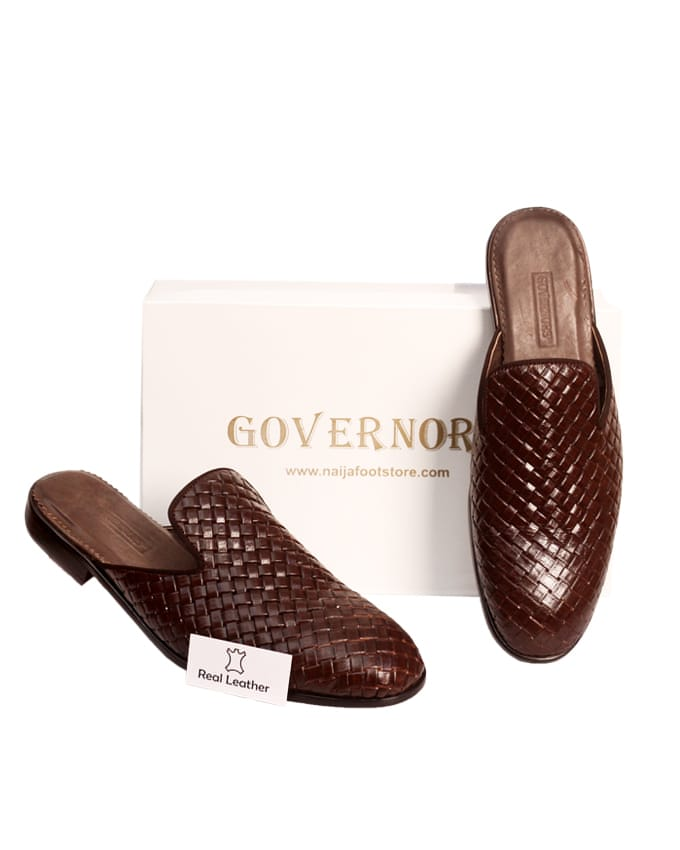 BROWN WEAVED OUT LEATHER HALF SHOES