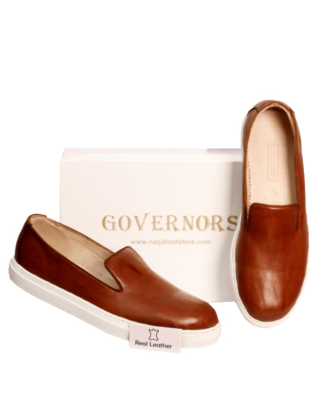 GOVERNORS BROWN LEATHER PLIMSOLES