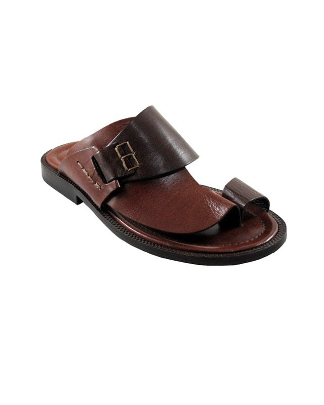 Governors Two Tone Brown Leather Cover Slippers - (Kopa)