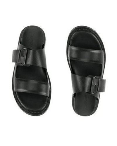 BLACK GOVERNORS PLUMP LEATHER BUCKLE SLIDES