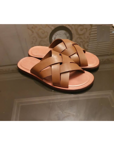 Governors Light Brown Criss Cross Slippers