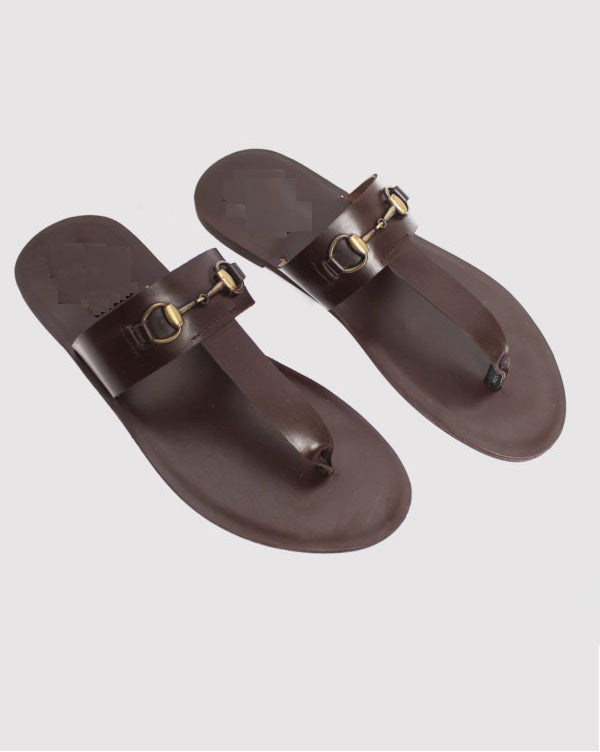 T-way Leather Horsebit Slippers - Brown