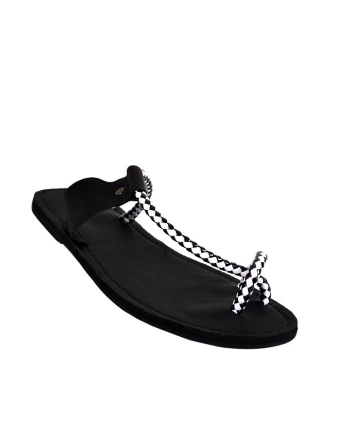Men's Thong Slippers with white/black strip