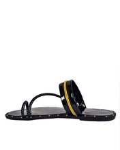 Patent Zipper thong-design slippers for men