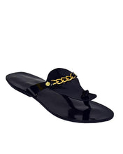 Aqua Chained Patent Men Slippers