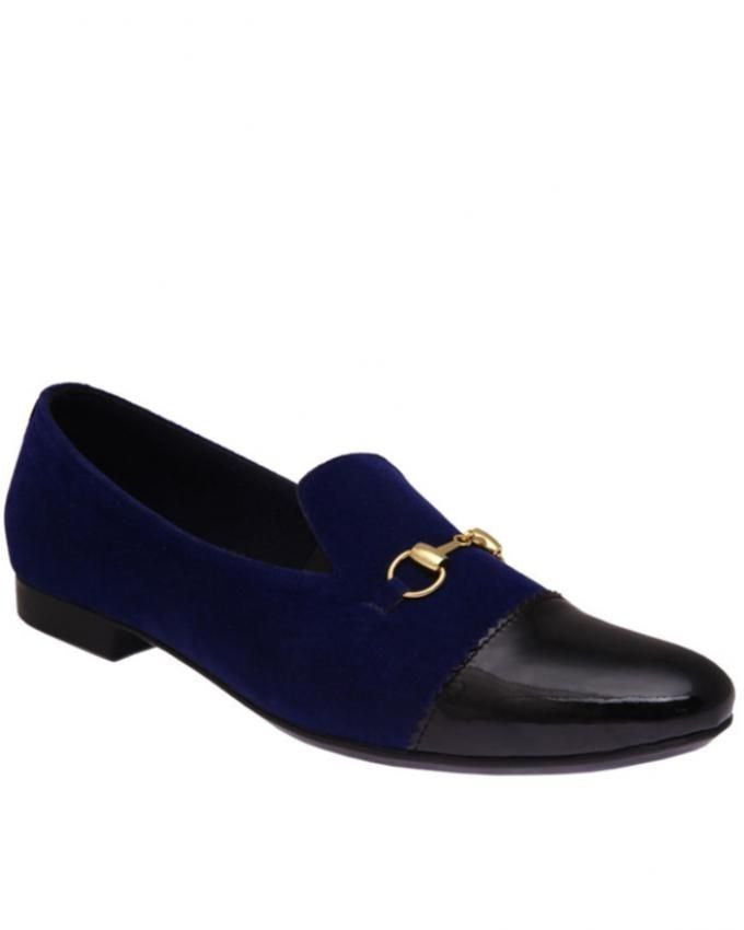 Blue Suede with patent leather and horsebit