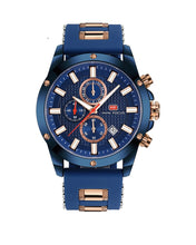Blue and Gold Fashion Watch (Rubber Strap)
