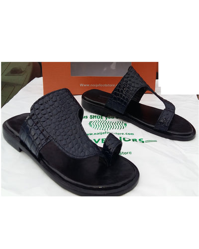 Black Governors Crocodile Skin Slippers