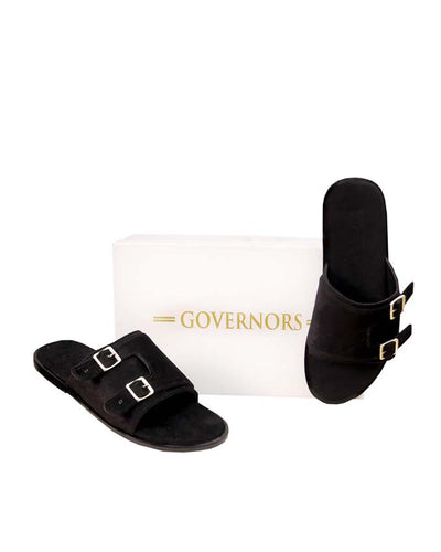 Black Velvet Double Monk Strap Slides